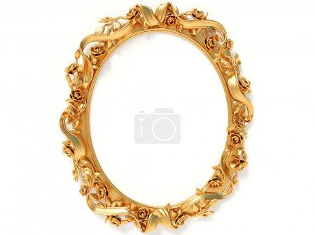 Photo pour Cadre en or Elipse sur fond blanc - image libre de droit