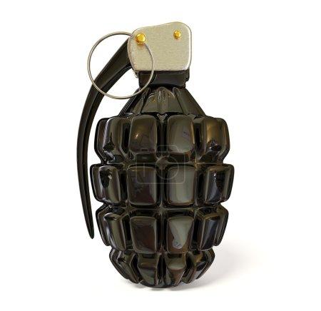 Photo pour Grenade noire sur fond blanc - image libre de droit