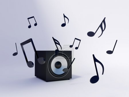 Photo for Bass speaker and sound notes - Royalty Free Image
