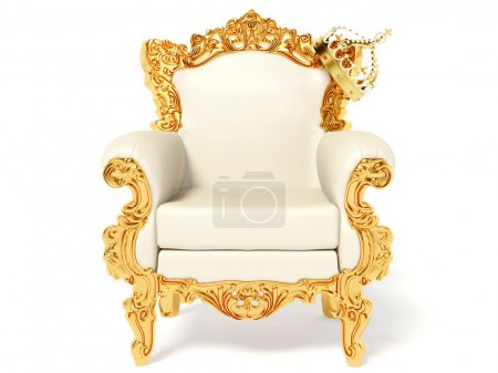 Gold throne and crown on white...