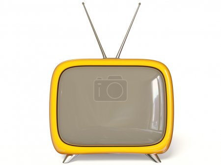 Photo for Yellow tv on white background - Royalty Free Image