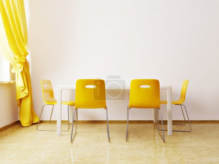 Photo for Modern dining room with a yellow chairs - Royalty Free Image