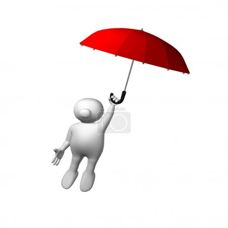 Logoman flying with red umbrella