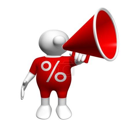 Photo pour Homme 3d blanc, vêtu d'un costume rouge avec le caractère de pourcentage tenant un mégaphone rouge - image libre de droit