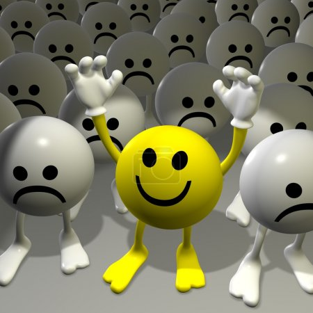 Photo pour Smiley 3D jaune riant entre gris et triste - image libre de droit