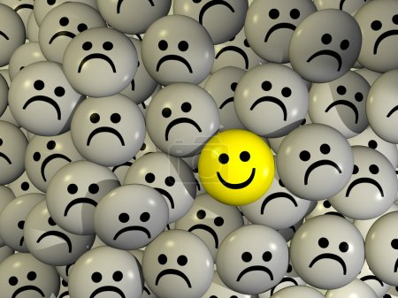 Photo for One positive yellow smilie between negative grey smilies - Royalty Free Image