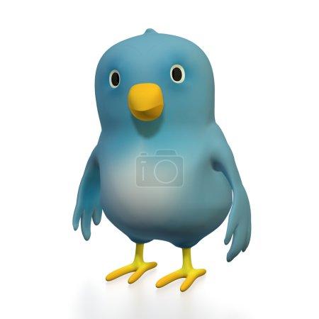 Photo pour Oiseau 3d bleu avec un fond blanc - image libre de droit