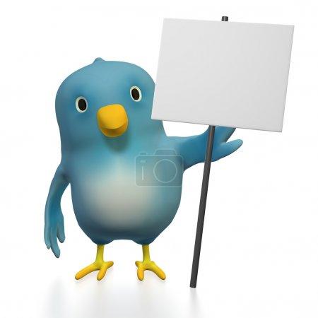 Photo pour Un oiseau bleu avec un signe clair devant un fond blanc - image libre de droit