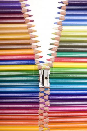 Photo for Range of colors with pencils forming a zipper - Royalty Free Image