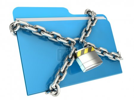 Photo for Computer folder with with chain and padlock. - Royalty Free Image
