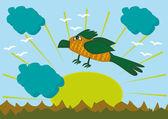 cartoon bird on mountains background