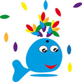 cartoon whale on isolated background