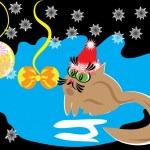 Cartoon little bird on celebratory background. Ill...