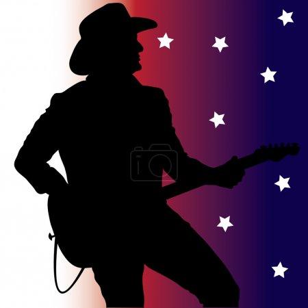 Clip Art Illustration d'une silhouette de guitariste country