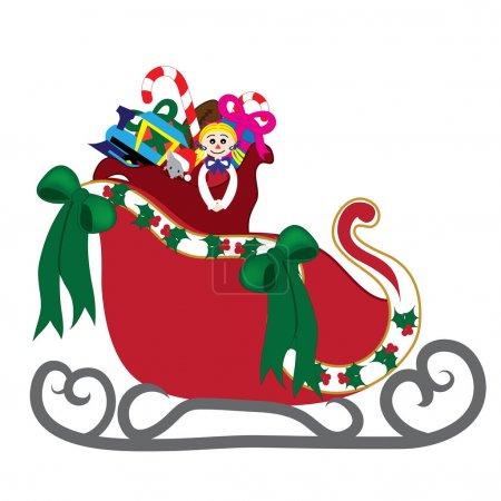 Photo pour Illustration art clip du traîneau du père Noël, avec son sac de jouets à l'intérieur, plein de jouets. - image libre de droit