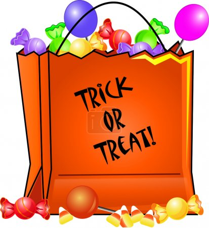 Clip Art Illustration of a Halloween Trick or Treat Bag Filled wi