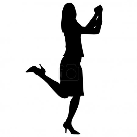Clip Art Illustration of the Silhouette of a Happy Woman
