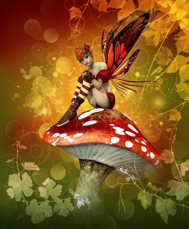 Photo pour Une petite fée est assise sur un agaric de mouche - image libre de droit