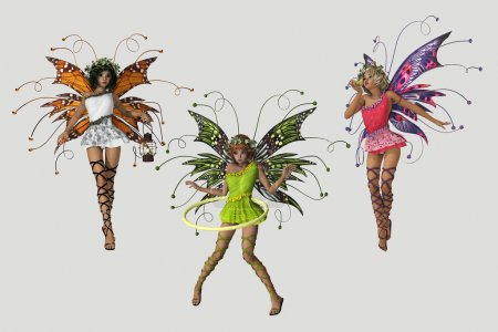 Photo for 3 cute fairies in different poses and several colored dresses - Royalty Free Image