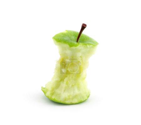 Photo pour Noyau de pomme verte sur un fond blanc - image libre de droit