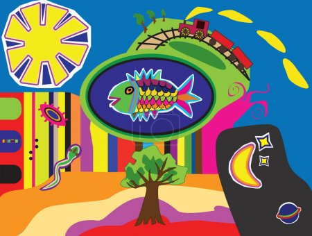 Illustration pour Illustration fantastique contenant poissons, soleil, lune, étoiles, arbres, serpent et train. - image libre de droit