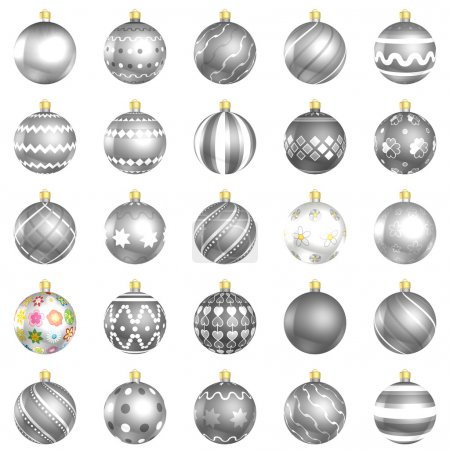 Christmas silver baubles big back 25 on white background