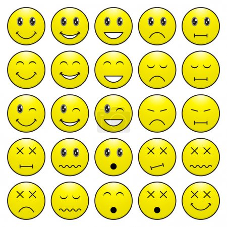 Illustration for Pack of faces (emoticons) with various emotions expression - Royalty Free Image