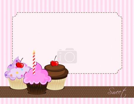 Illustration pour Illustration de délicieux cupcakes. Affiche vectorielle vintage, rétro - image libre de droit
