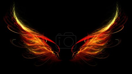Photo for Hell wings of angel or demon with red and yellow - Royalty Free Image