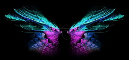Photo for Blue and turquoise butterfly wings on black background - Royalty Free Image