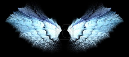 Silver and blue angel wings