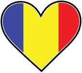 A heart with the Romanian flag in it
