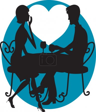 Illustration for A silhouette of a couple having wine. A big white moon shaped like a heart is in the background - Royalty Free Image
