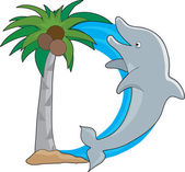 A dolphin jumping out of water shaped like the letter D