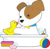 A cute puppy is having a bath with a rubber duckie