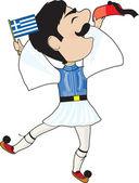 Greek Evzone dancing with Flag