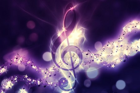 Photo for Violin key, music note symbol. Surreal music background - Royalty Free Image