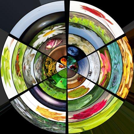 Photo pour Galerie médias colorées sphériques 3D - image libre de droit