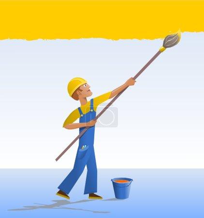 Illustration pour Le décorateur peint un mur avec un pinceau. Caractère de bande dessinée - un travailleur en robe bleue . - image libre de droit