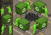Isometric set of garbage man in four position