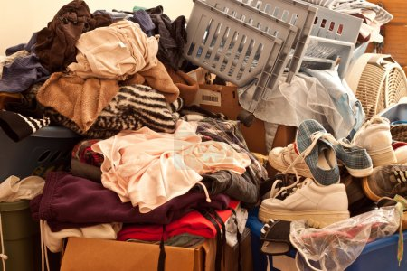 Photo for Pile of misc items stored in an unorganized fashion in a room - Royalty Free Image