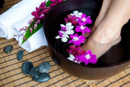 Feminine feet in foot spa