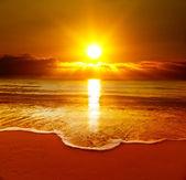 """Постер, картина, фотообои """"красивый закат на пляже"""""""