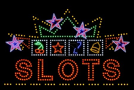 Slots gambling neon sign
