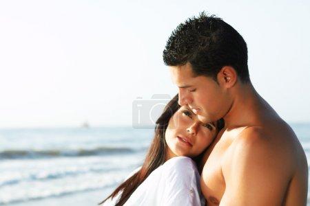 Loving couple looking at the horizon