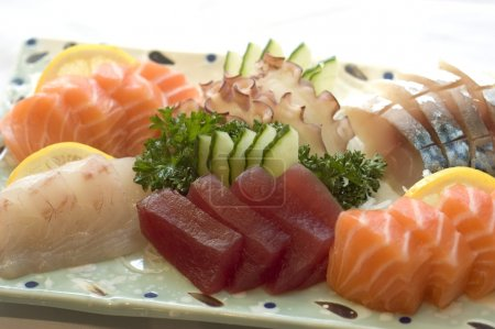 Japanese Food, Raw Fish, Tuna, Salmon, Detail, on Plate