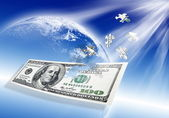 Puzzle 100 dollar banknote on blue