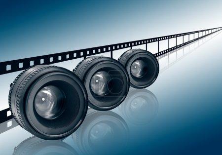 Photo pour Trois lentilles et film strip sur fond bleu - image libre de droit