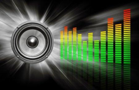 Photo pour Audio speaker & equalizer on black background - image libre de droit