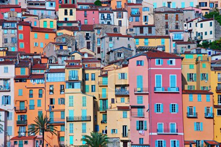 Photo for Colorful urban living houses in Provence village Menton - Royalty Free Image